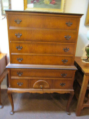 S25 antique vintage tiger figured maple highboy dresser chest of drawers