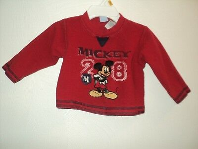 Disney Mickey Mouse Boy's Infant 12 Months Red Shirt Long Sleeves Thermal