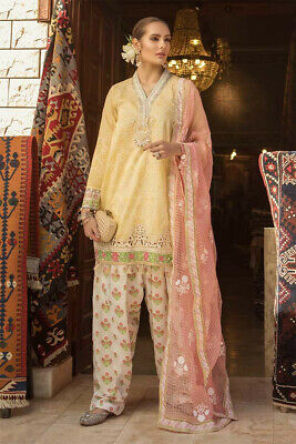 2012ad777a MARIA B LATEST Unstitched Tilla Embroidered Lawn Suit-Chiffon ...