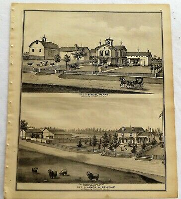 1876 NY Jerusalem Potter  Farms and Residences Print frm Atlas