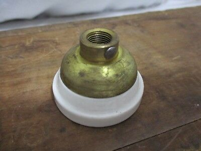 "Antique Vintage A&H Porcelain light socket caps 1/8"" brass lamp NOS hubbell 10A"