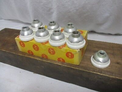 "Antique Vintage A&H Porcelain light socket caps 1/4"" brass lamp NOS hubbell 8A"