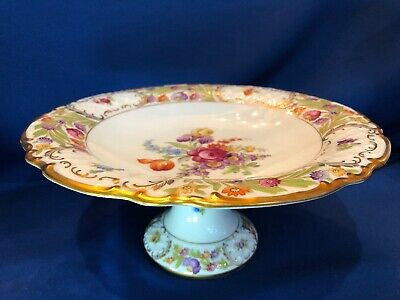 SCHUMANN BAVARIA GOLDEN CROWN EMPRESS DRESDEN FLOWERS Pedestal Dish Bowl 11 1/4""