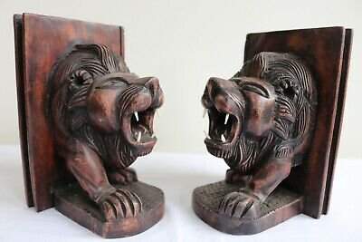 A Superb Pair Of Antique Heavily Carved Mahogany Lion Bookends