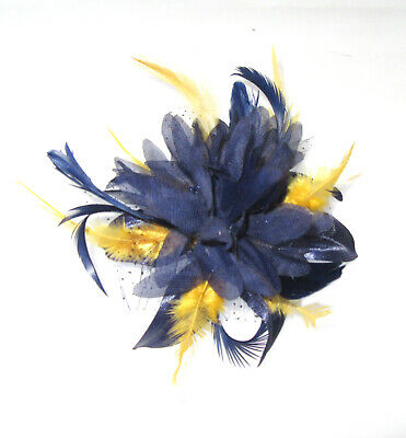 c8b13044 Navy and gold yellow comb fascinator for Ascot , Races, Weddings, Ladies Day