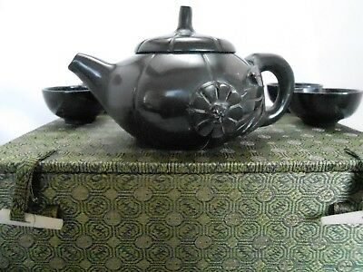 Vintage Chinese Teapot Teacup Set In Decorative Green Box
