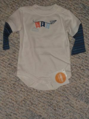 "NWT - Gymboree ""Cloud Cutie"" long sleeved white & navy ""Hi!""shirt - newborn boys"