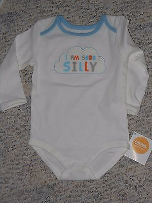 """NWT -Gymboree """"Brand New Baby"""" long sleeved """"So Silly"""" ivory top - 0-3 mos boys"""
