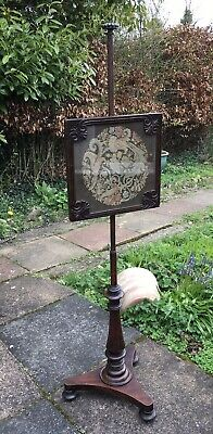 Antique Victorian Regency POLE SCREEN carved mahogany & brass wool tapestry