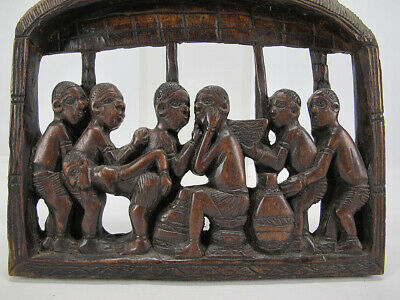 Vintage African Relief Carving Hut Natives Republic of Congo by Banamwezi yqz