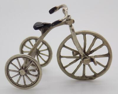 Vintage Solid Silver Italian Made Large Tricycle Miniature, Figurine, Stamped