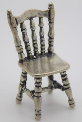 Vintage Solid Silver Italian Made Country Kitchen Dollhouse Chair, Stamped