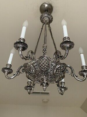 SPECTACULAR Rare Antique Bronze Chandelier With Silver Plate Finish