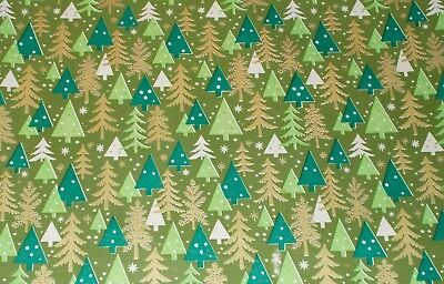 Vtg Christmas 1950 Wrapping Paper From Store Roll 2 Yards Trees & Snow On Green