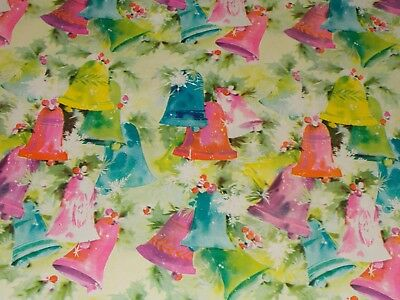 Vtg Christmas Wrapping Paper Gift Wrap 1960 Nos Blue Green Pink Holly Bells