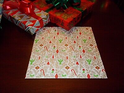 Vtg Christmas Wrapping Paper Gift Wrap Red Gold Green Bell Angel Candle 1950 Nos