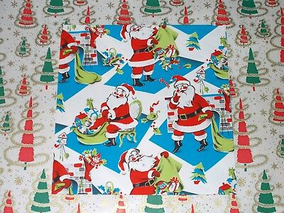 Vintage 1950s Christmas Candles Holiday Wrapping Paper 1 Full Sheet Gift Wrap