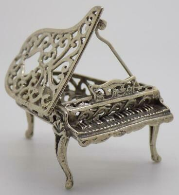 Vintage Solid Silver Italian Made Large Perforated Piano Miniature, Stamped*