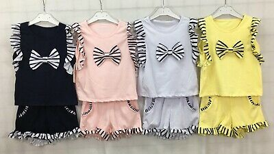 Girls Kids Children's Bow Tops & Shorts Two Piece Set Summer Outfit 2-12 Years