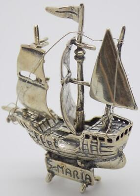 Vintage Solid Silver Italian Made Columbus St. Mary Ship Large Miniature, Stamps