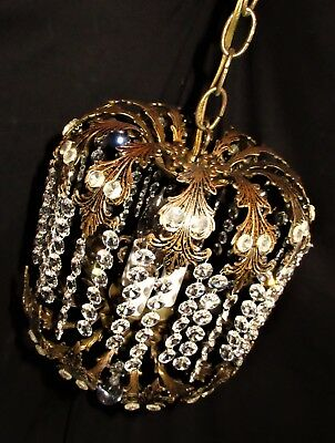 VTG DECO ERA FRENCH SPAIN CRYSTALS BRASS CHANDELIER CEILING FIXTURE 1950's