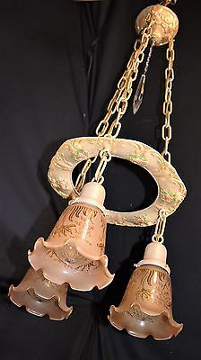 Antique Victorian Cast Metal Chandelier Ceiling Light Fixture Glass Shades  20'S