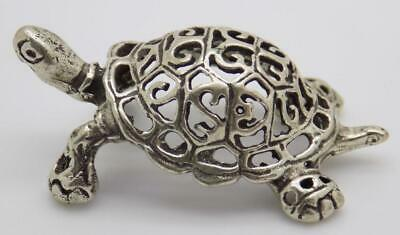 Vintage Solid Silver Italian Made Perforated Turtle Figurine, Miniature, Stamped