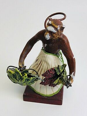 Antique Petite Choses Cast Iron Monkey Figurine w/ Shell Skirt