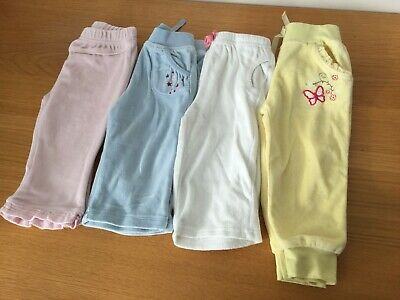 4 x Baby Girls Velour Trousers 6-9 Months - Yellow White Pink Blue
