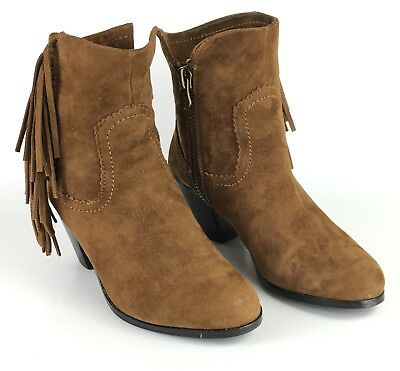 8fa7b3d39 Sam Edelman Louie Ankle Boots Women s 6.5 Brown Suede Leather Fringe Side  Zip