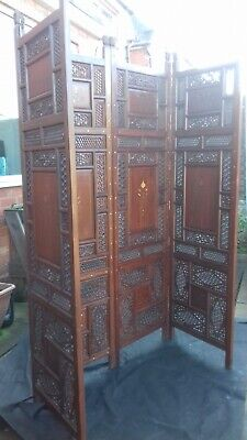 Antique Victorian Indian Mahogany hand carved room divider/changing screen.