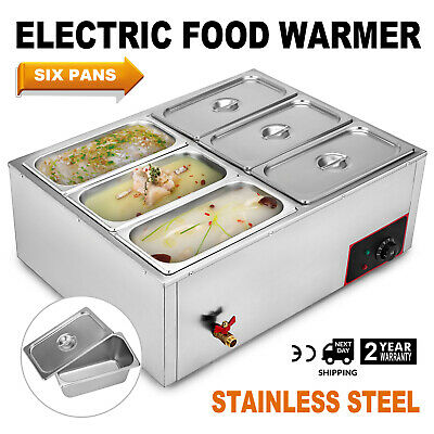 6 Pans Wet Well Basin Marie Food Warmer Holder 1/6 GN Containers  850W 220V
