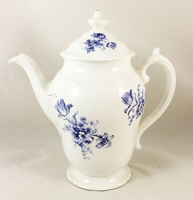 Large Coffee Pot & Lid Vintage Coalport Bone China England Divinity Blue Floral