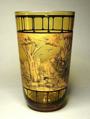 Vintage Czech Bohemian Pen Sketch Amber Glass Vase