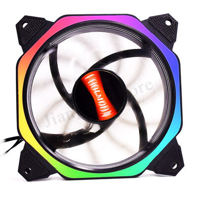 1-6 Pack RGB LED Computer Case PC Cooling Fan 120mm w/ Remote Control Adjustable
