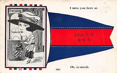 """I Miss You"" at Elkins New Hampshire~Lady at Movie Theatre Ticket Booth~1913 PC"