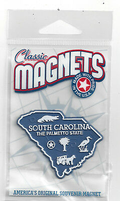 SOUTH CAROLINA   THE PALMETTO   STATE OUTLINE MAP MAGNET in Souvenir Bag, NEW