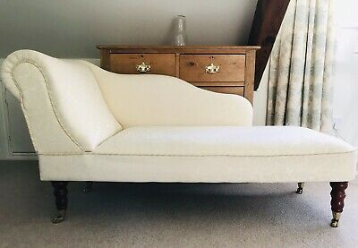 Vintage French Ivory Damask Chaise Longue Lounge Sofa Day Bed Bedroom Chair Seat