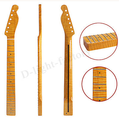 Tiger Flame Maple Electric Guitar Neck For  TL ST Replacement 21 Fret Back Inlay