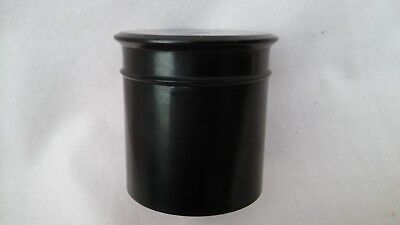 VINTAGE ART DECO SMALL EBONY SRCEW LIDDED POT IN USED VINTAGE COND,57mm HIGH.