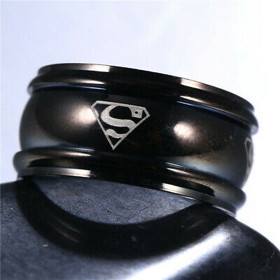 Men&Women Superman Stainless Steel Titanium Band Ring Wedding Engagement Sz6-13