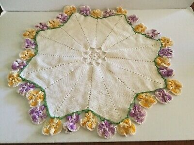 """Vintage Crocheted Doily w/Purple & Yellow Pansy Edging 21"""" Flower Center"""