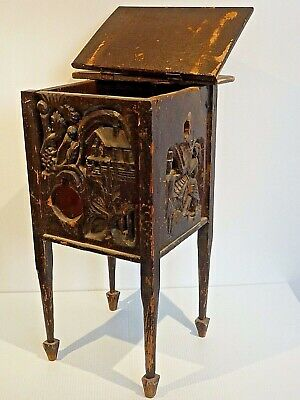 Folk Art Relief Carved Small Cabinet W/ Dancing Couple & House In Trees Scenes