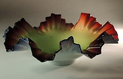 19thc Antique Victorian Era Bohemian Art Glass Swirl Glass Jar/ Bowl / Basket