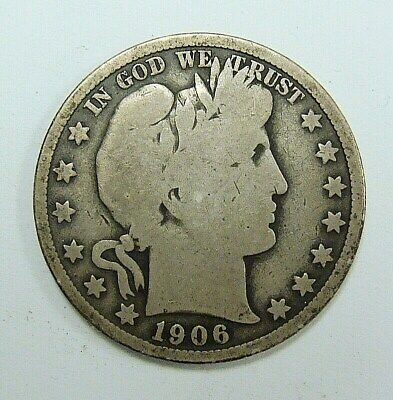 1906 Vg Barber Half Dollar, Problem Free Collector Coin, Free Shipping