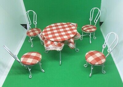 Vintage Dollhouse Miniatures Ice Cream Parlor Table and Chair Set