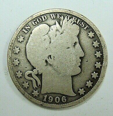 1906 Vg Barber Half Dollar, Problem Free Collector Coin, Free Shipping 1