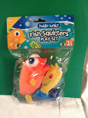Fish Squirters Play Set New In Package Bath Tub Fun 3 Pack Ages 8+ Months