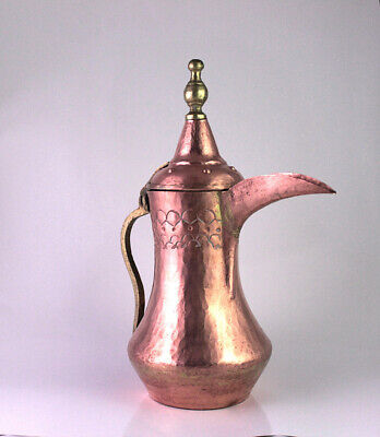 Antique 19th Century Middle Eastern Arabian Tinned Copper Dallah Coffee Pot