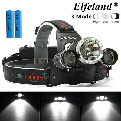 50000LM 3x T6 LED Rechargerable Headlamp Headlight Flashlight Torch w/ 2x18650